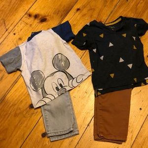 Two 18 month boys short sleeve pant outfits.